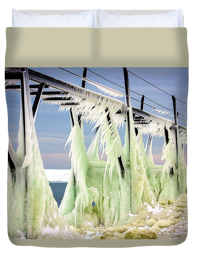 Icicles Duvet Cover featuring the photograph Icicles On The Catwalk by Jackie Novak