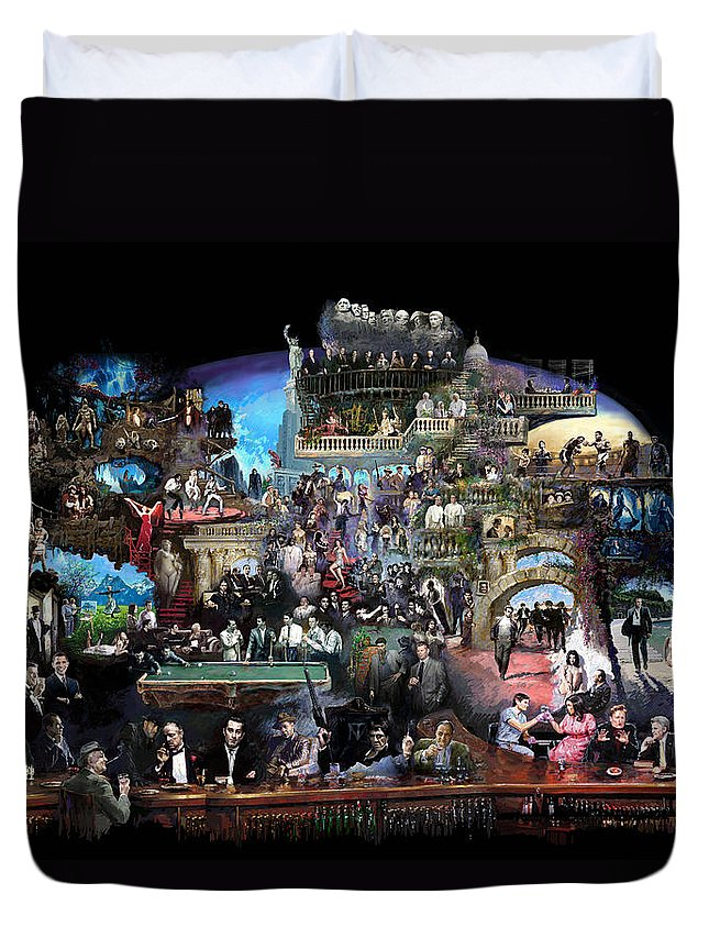 Icones Of History And Entertainment Duvet Cover featuring the mixed media Icons Of History And Entertainment by Ylli Haruni
