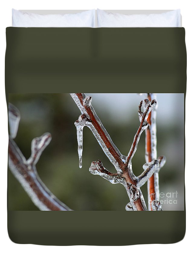 Ice Duvet Cover featuring the photograph Icy Branch-7463 by Gary Gingrich Galleries