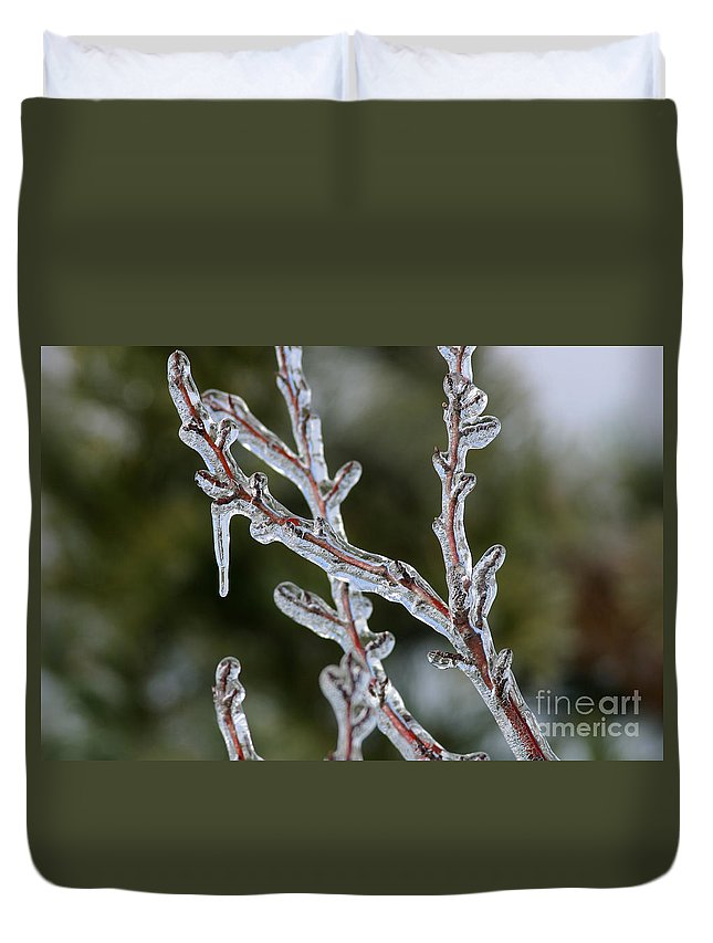 Ice Duvet Cover featuring the photograph Icy Branch-7485 by Gary Gingrich Galleries