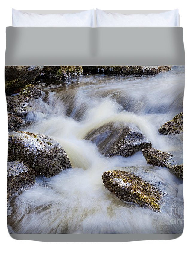 Winter Duvet Cover featuring the photograph Icy December Brook by Alan L Graham