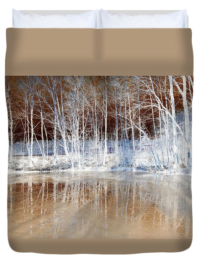 Ice Duvet Cover featuring the photograph Icy Reflections by The Creative Minds Art and Photography