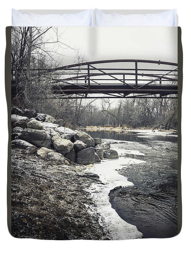 Outside Duvet Cover featuring the photograph Icy River by Margie Hurwich