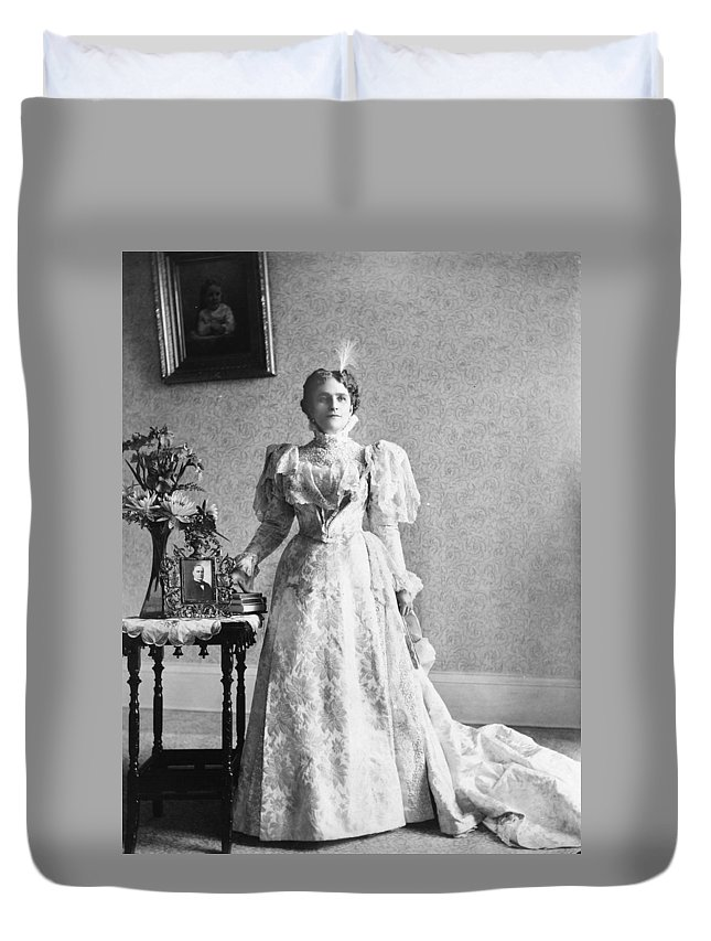 1897 Duvet Cover featuring the photograph Ida Saxton Mckinley (1847-1907) by Granger