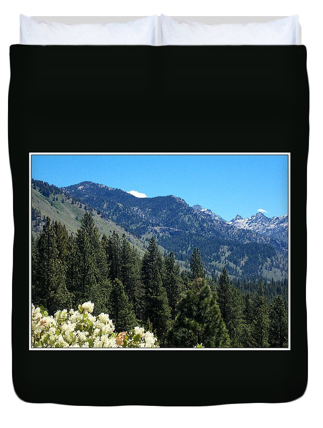 Trees Duvet Cover featuring the photograph Idaho Mountain Side by Susan Kinney