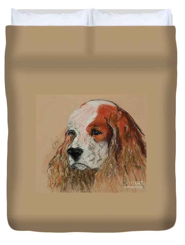 Dog Duvet Cover featuring the pastel Idle Thoughts by Cori Solomon