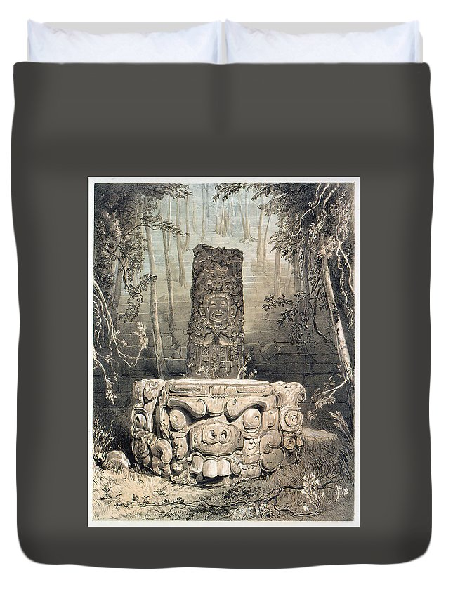 Catherwood Duvet Cover featuring the digital art Idol And Altar At Copan by Frederick Catherwood