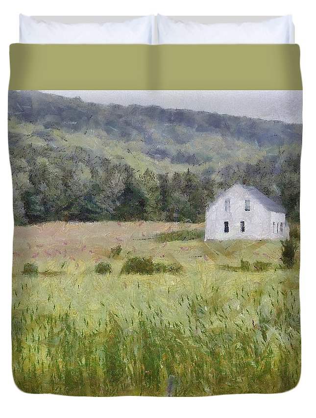 Alone Duvet Cover featuring the painting Idyllic Isolation by Jeffrey Kolker