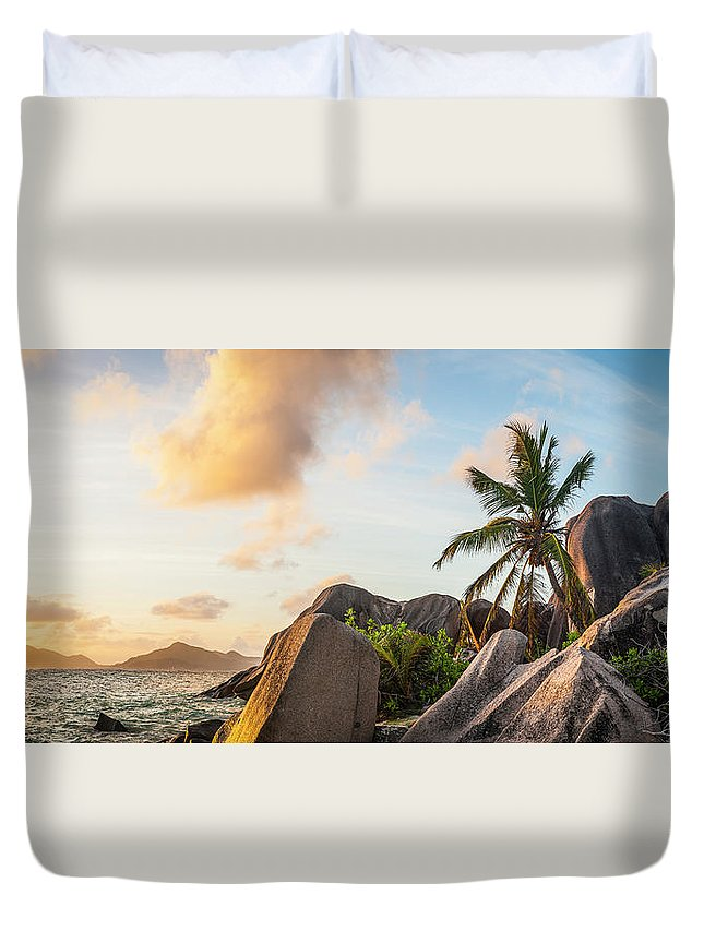 Tropical Rainforest Duvet Cover featuring the photograph Idyllic Tropical Island Sunset Over by Fotovoyager