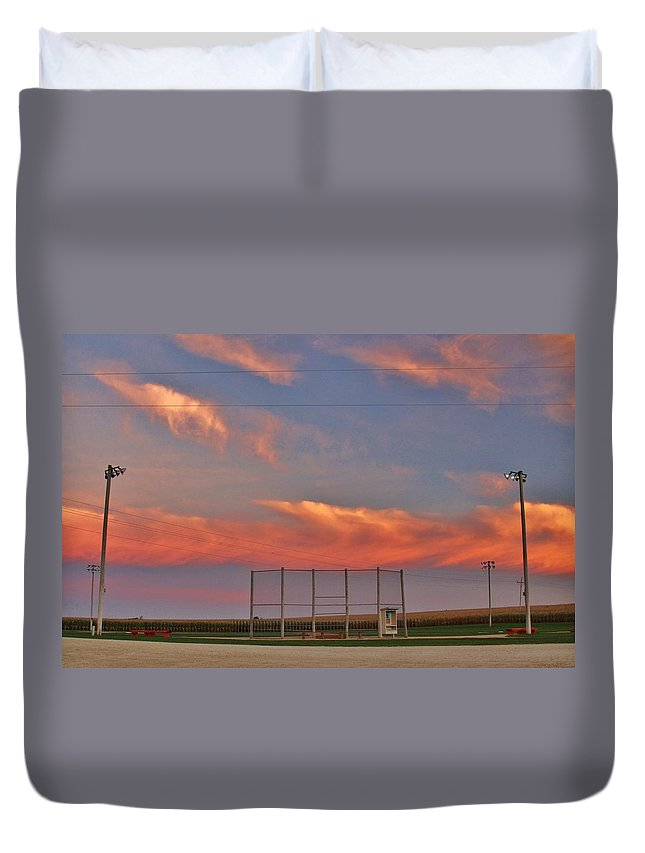 Baseball. Sports Duvet Cover featuring the photograph If You Build It The Sun Will Rise by Christopher Miles Carter