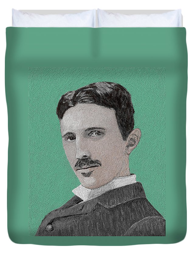 Nikola Tesla Duvet Cover featuring the painting If You Could Read My Mind...tesla by G Cannon