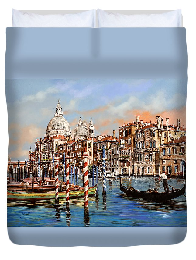 Venice Duvet Cover featuring the painting Il Canal Grande by Guido Borelli