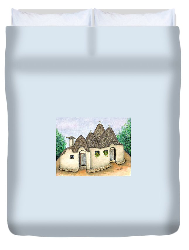 Pamela Allegretto Duvet Cover featuring the painting Il Trullo Alberobello by Pamela Allegretto