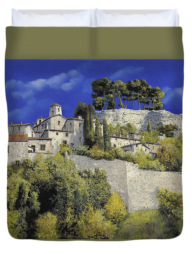 Blue Village Duvet Cover featuring the painting Il Villaggio In Blu by Guido Borelli