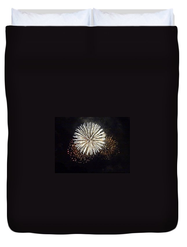 Event Duvet Cover featuring the photograph Illuminated Firework Display Against by Daniel Schild / Eyeem
