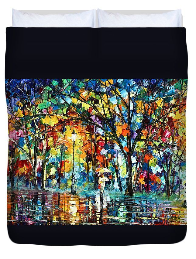 Park Duvet Cover featuring the painting Illusion by Leonid Afremov
