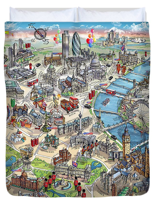 Illustrated Map Of London Duvet Cover on historical map of london, art map of london, painted map of london, business map of london, black map of london, color map of london, interactive map of london, simple map of london, watercolor of london, graphic map of london, travel map of london, childrens map of london,