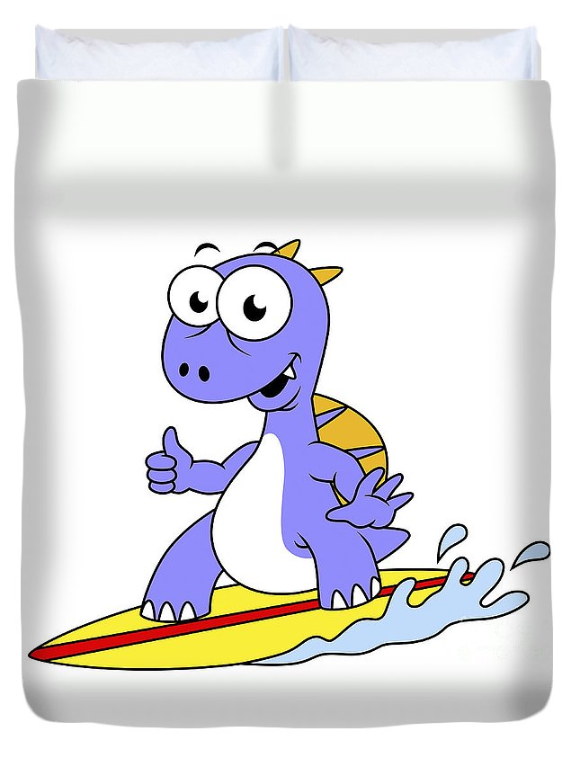 Horizontal Duvet Cover featuring the digital art Illustration Of A Surfing Spinosaurus by Stocktrek Images