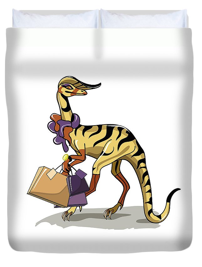 Square Image Duvet Cover featuring the digital art Illustration Of An Iguanodon by Stocktrek Images