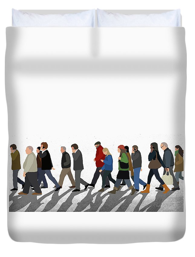 Shadow Duvet Cover featuring the digital art Illustration Of People Walking On by Malte Mueller
