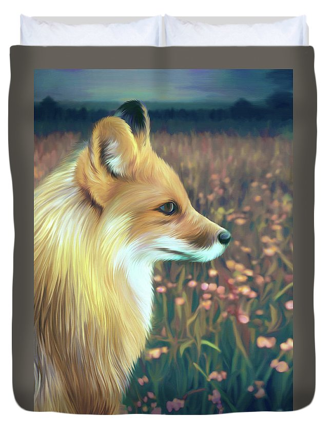 Grass Duvet Cover featuring the digital art Illustration Of Red Fox by Illustration By Shannon Posedenti