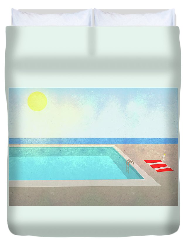 Swimming Pool Duvet Cover featuring the digital art Illustration Of Swimming Pool On Sunny by Malte Mueller