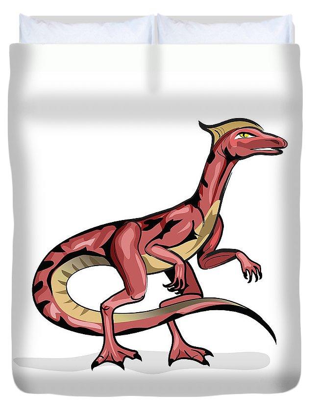 Square Image Duvet Cover featuring the digital art Illustration Of Velociraptor by Stocktrek Images