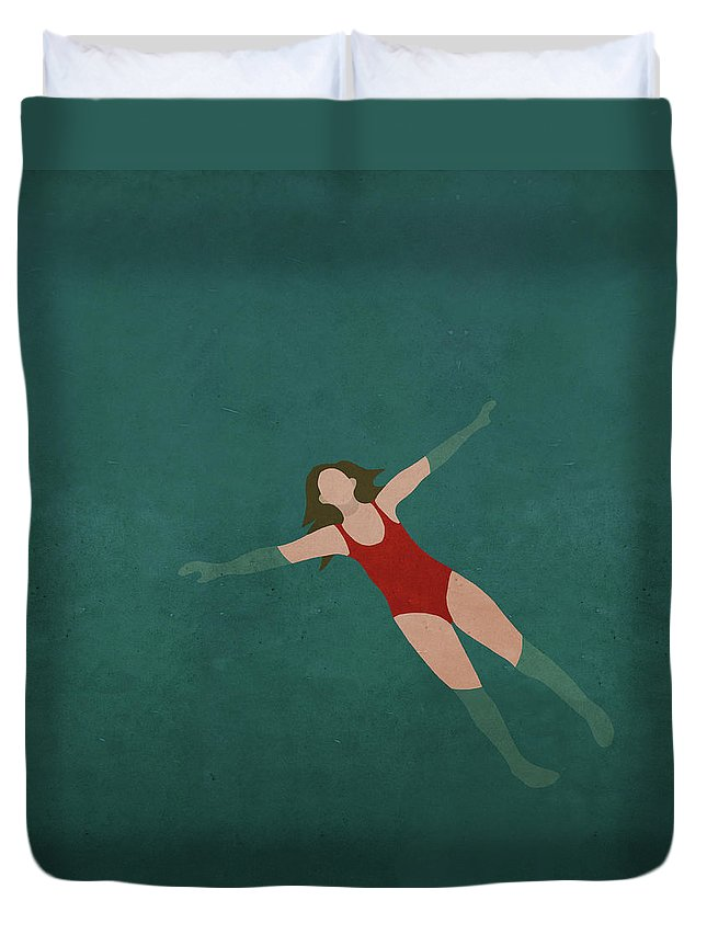 Tranquility Duvet Cover featuring the digital art Illustration Of Woman Swimming In Water by Malte Mueller