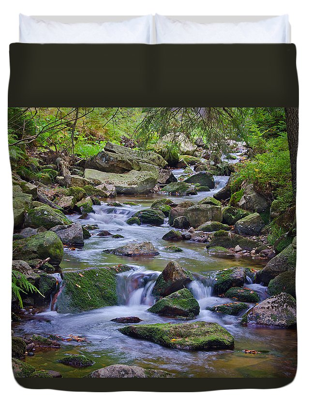 Bach Duvet Cover featuring the pyrography Im Bodetal by Steffen Gierok