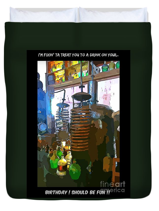 I'm Fixing You A Drink Duvet Cover featuring the photograph I'm Fixing You A Drink by John Malone