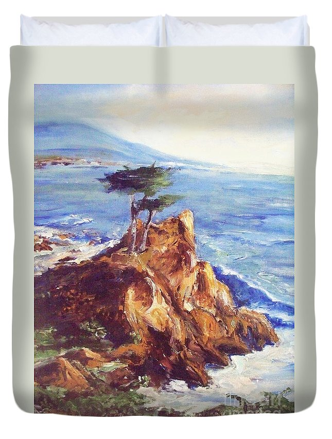 Seascape Duvet Cover featuring the painting Imaginary Cypress by Eric Schiabor