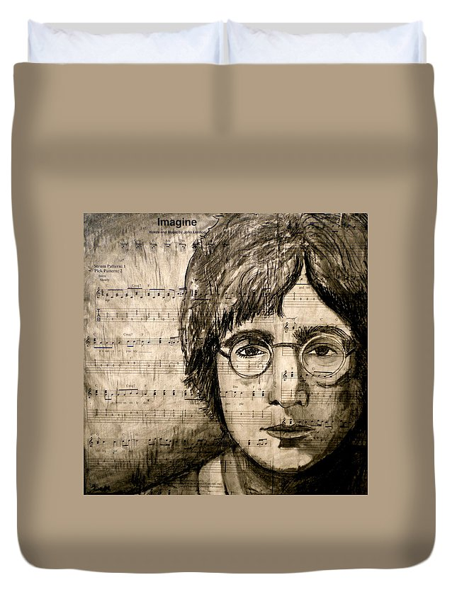 Imagine Duvet Cover featuring the drawing Imagine by Debi Starr