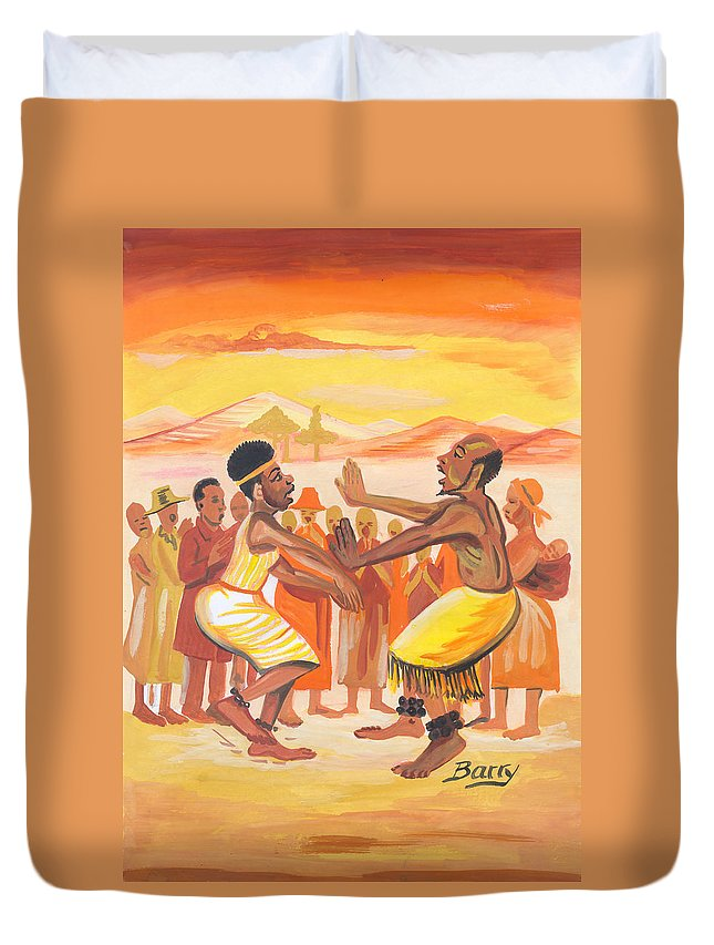 Barry Art Duvet Cover featuring the painting Imbiyino Dance From Rwanda by Emmanuel Baliyanga