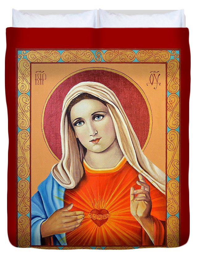 Mary Paintings Duvet Cover featuring the painting Immaculate Heart Of Mary by Oksana Nabok