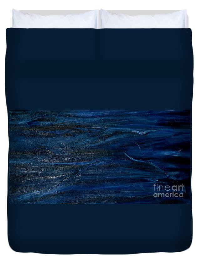 Abstract Duvet Cover featuring the painting Immense Blue by Silvana Abel
