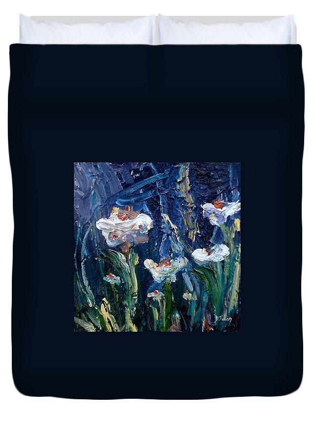 Impasto Duvet Cover featuring the painting Impasto Daisies by Donna Tuten