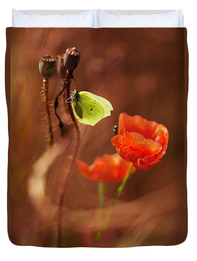 Poppies Duvet Cover featuring the photograph Impression With Red Poppies by Jaroslaw Blaminsky