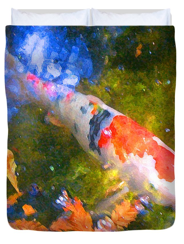 Fish Duvet Cover featuring the painting Impressionism Koi 2 by Amy Vangsgard