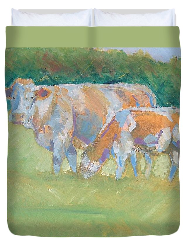 Mike Duvet Cover featuring the painting Impressionist Cow Calf Painting by Mike Jory
