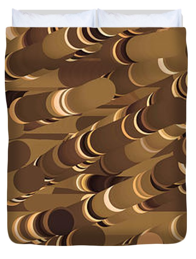 Impressionist Duvet Cover featuring the mixed media Impressionist Golden Rising Sand Castle Show Pattern Art 36x12 Horizontal Landscape Energy Graphics by Navin Joshi