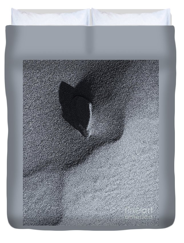 Impression Duvet Cover featuring the photograph Impressions In The Sand by Mike Dawson