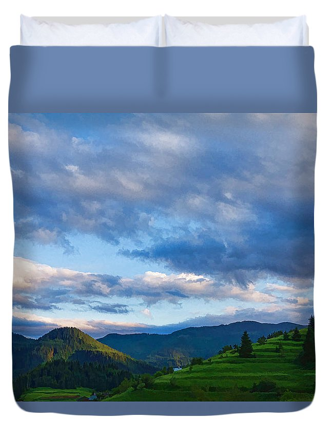 Georgia Mizuleva Duvet Cover featuring the digital art Impressions Of Mountains And Magical Clouds by Georgia Mizuleva