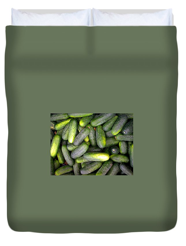 Cucumbers Duvet Cover featuring the photograph In A Pickle by Cynthia Wallentine