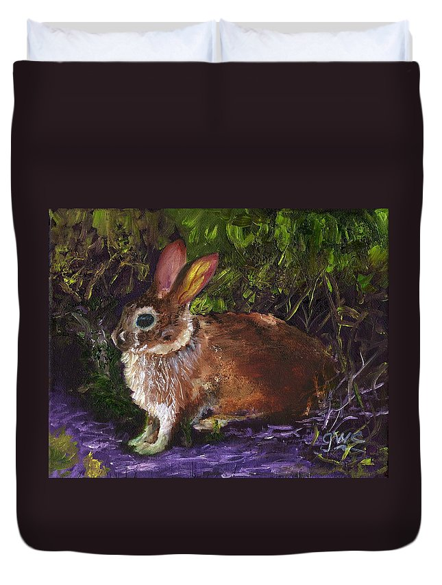 Rabbit Duvet Cover featuring the painting In A Safe Place by Gloria Condon