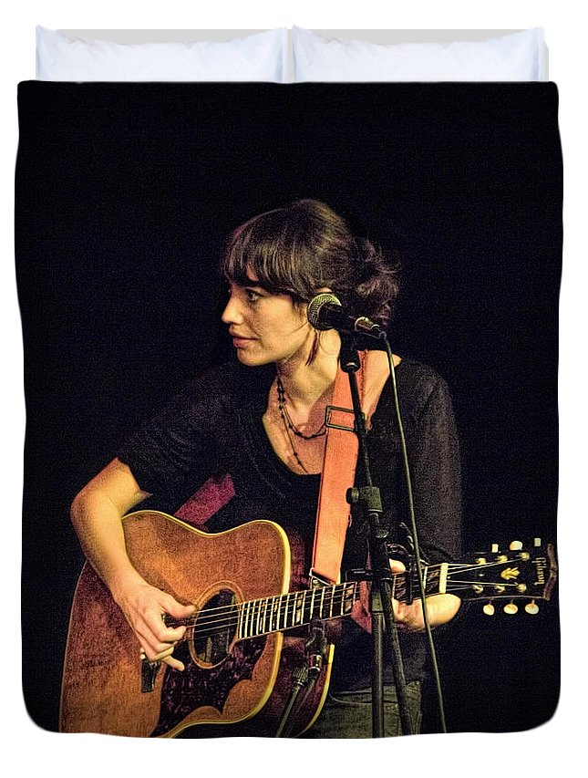 Art Duvet Cover featuring the photograph In Concert With Folk Singer Pieta Brown by Randall Nyhof