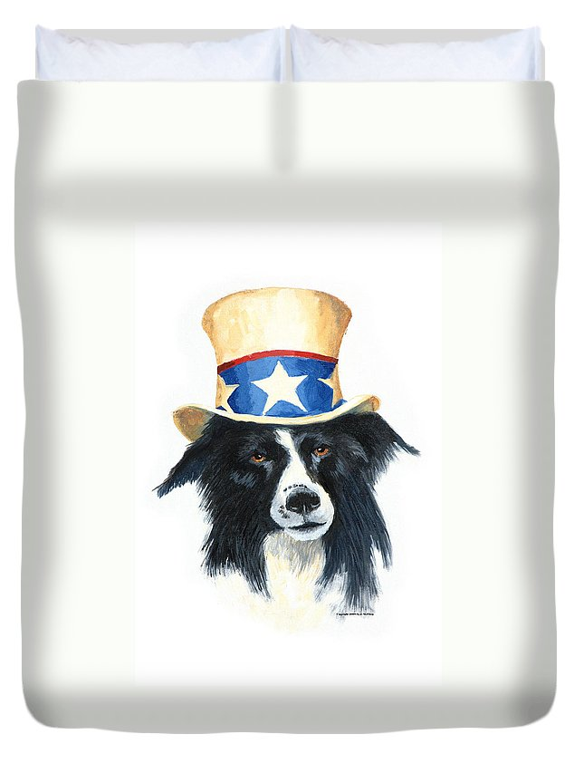 Dog Duvet Cover featuring the painting In Dog We Trust by Jerry McElroy