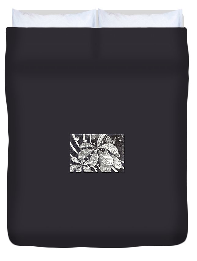 Organic Abstraction Duvet Cover featuring the drawing In Endless Ways by Helena Tiainen