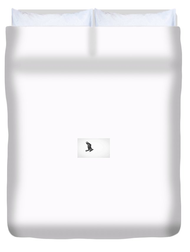 Flight Duvet Cover featuring the photograph In Flight Black And White by Wesley Farnsworth