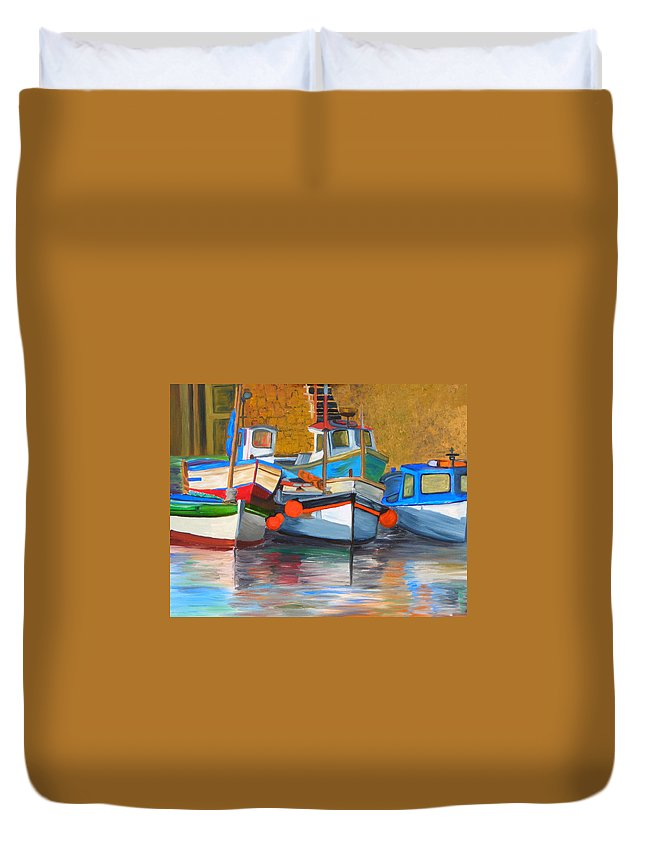 Boats Duvet Cover featuring the painting In Harbor by Michael Lee
