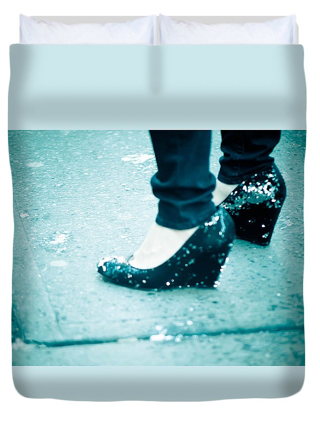 Blue Duvet Cover featuring the photograph In Her Shoes by Zina Zinchik